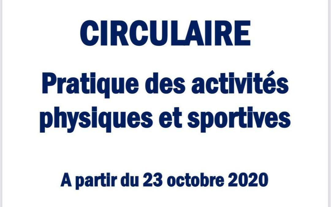 COVID-19 : Nouvelle circulaire, mise en application à partir du 23 octobre 2020.