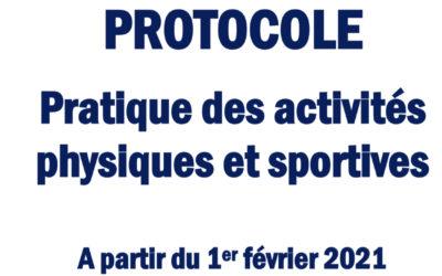 COVID-19 : Protocole mis en application à partir du 1.02.2021